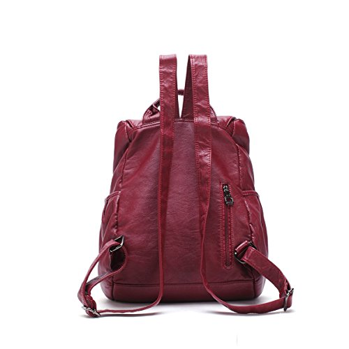 21KBARCELONA Cuoio lavato di alta qualità zaino borsa K15311 Rosso