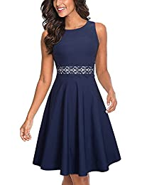 HOMEYEE Women's Vintage Crew Neck Sleeveless Floral Embroidered Knee Length Cocktail Dress UKA079