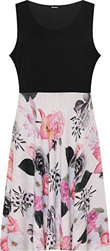 Wearall - Damen Plus Blumen- Druck Ärmellos Abgefackelt Gefaltet Kontrast Damen Kleid - 44-56 Weiß
