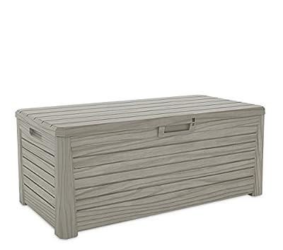 XL Toomax Kissenbox #Z155 Florida grau 550 Liter Inhalt Holz Optik - mit Sitzfläche 350 kg Tragkraft - absolut wasserdicht - abschließbar von Toomax - Du und dein Garten