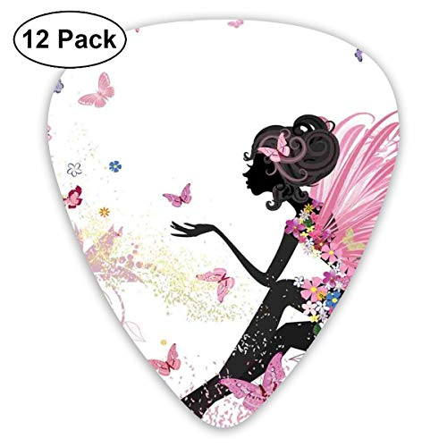 Celluloid Guitar Picks - 12 Pack,Abstract Art Colorful Designs,Abstract Silhouette Of A Girl With Pink Wings And A Floral Dress Spring Fairy Theme Art,For Bass Electric & Acoustic Guitars. (Spring Fairy Wings)
