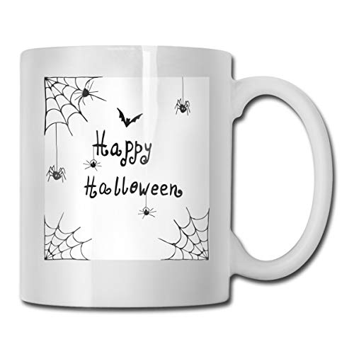 Jolly2T Funny Ceramic Novelty Coffee Mug 11oz,Happy Halloween Celebration Monochrome Hand Drawn Style Creepy Doodle Artwork,Unisex Who Tea Mugs Coffee Cups,Suitable for Office and Home