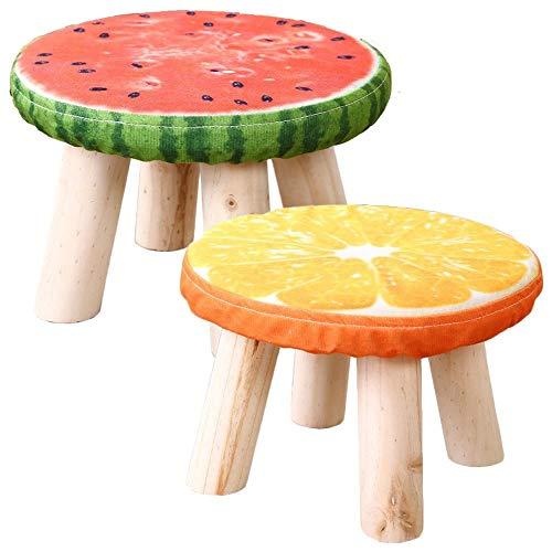 Mode Osmanischen Hocker Outdoor Freizeit Fußstütze Gepolsterte Fuß Hocker Wohnzimmer Schuh Bank Make-up Hocker Stoff Hocker Wassermelone Muster/Orange Muster (Color : A) -