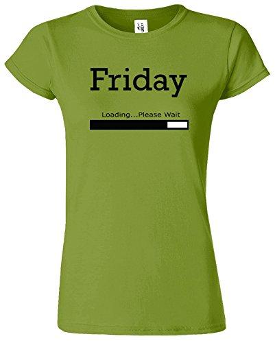 Friday Loading Dames Tshirt femmes Drôle Court Manche Tshirt Kiwi / Noir Design