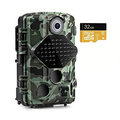 usogood Wildkamera mit 32 GB SD-Karte 20MP 1080P Wildkamera mit Bewegungsmelder Nachtsicht 20m mit 2.4\'\' LCD Bildschrim IP66 wasserdichtes gehäuse für Jagd und Heimüberwachung fotofalle
