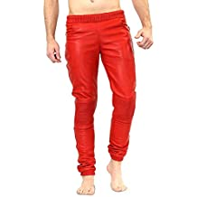 147753e7e0a7b3 Bockle® Boyjog Lamb Joggers Red Rote Herren Leder Jogginghose mit Bündchen