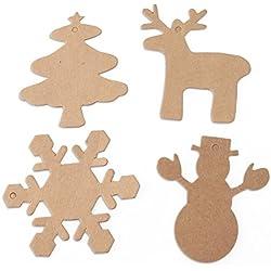 OULII 100 piezas regalo paquete etiquetas Navidad árbol copo de nieve ciervos muñeco de nieve Navidad festoneado etiqueta de papel de Kraft con cuerda de 20M, decoración de la Navidad (marrón)