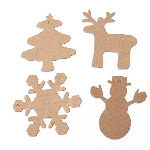 NUOLUX 100pz etichette regalo di Natale, natale decorazioni casa, etichetta della carta Kraft con corda di 20 M (marrone)