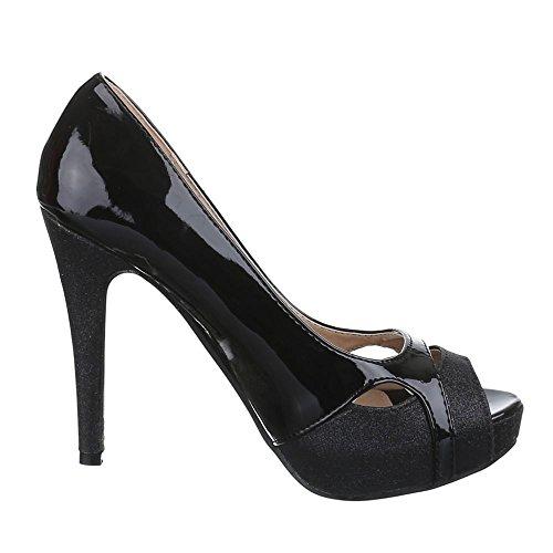Ital-Design , chaussures compensées femme Noir - Noir