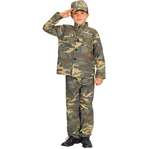 (Boys Army Action Commando Costume Fancy Dress Ages 3-13 Years)