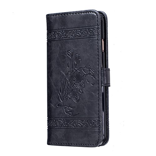 iphone 6 Plus Hülle Case,iphone 6s Plus Schutzhülle Brieftasche,Ekakashop Retro Blau Lotus Muster PU Leder Wallet Case Schutzhülle Klapptasche Etui im Bookstyle Flip Schale Weichen Silikon Magnetversc Schwarz