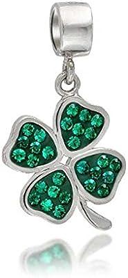 truecharms Verde Crystal Trébol 4Leaf Clover Colgante Cuentas Pandora joyería charms pulseras