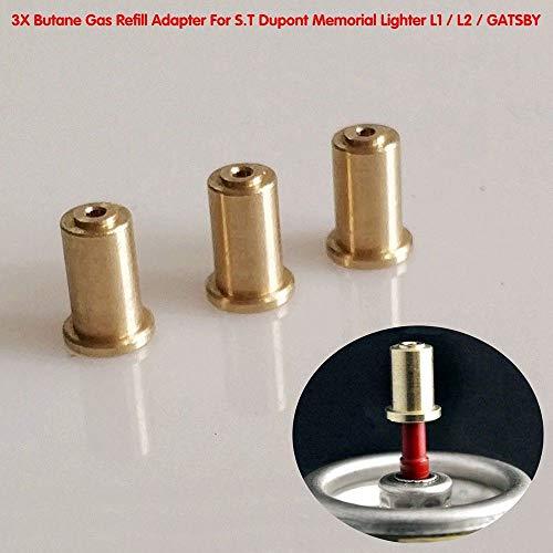 BAAQII 3 Pcs Adaptateur De Recharge De Gaz en Laiton pour S.T Dupont Memorial Briquet DIY Kit De Réparation