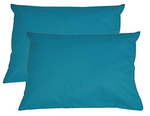 Paket mit 2x beties Basic Kissenbezug ca. 40x60 cm 100% Baumwolle in 15 fröhlichen Unifarben (Petrol) (60 X 40 Tischdecke)