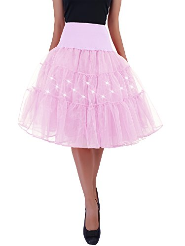 HENCY Karneval Fasching Kostüm Retro Petticoat Rock Ballett Tutu Unterrock Mit LED Licht Rosa