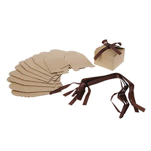 Cuigu 10 Stück Papier Geschenktüte, Pralinenschachtel Pappschachtel mit Band für Süßigkeiten Schokoladenkuchen