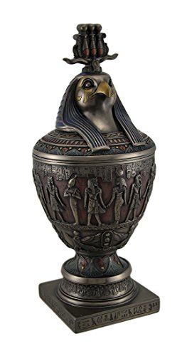 Deko Ägyptische Kanope W/HORUS tragen Triple Atif Krone Deckel