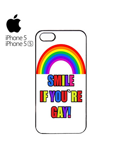 Smile If You Are Gay Rainbow Mobile Phone Case Back Cover Coque Housse Etui Noir Blanc pour for iPhone 4&4s Black Blanc