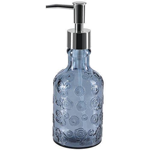 Spirella colección Carlita, Dispensador de jabón líquido Ø7x20 cm (0,3 litros), Vidrio Reciclado, Azul, (0.3 litros)