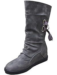 Botas Mujer,Ouneed ® Señoras mujer baja cuña hebilla moteras tobillo Trim tobillo botas planas