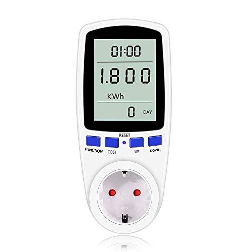 Energiekostenmessgerät, Strommessgerät Energiemessgerät Stromkostenmessgerät Stromverbrauchszähler KWh Zähler Wattmeter Stromzähler Steckdose Elektrizitäts-Analysator mit Überlastsicherung (white) -