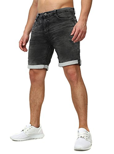 Sweat Jeans Denim Jogger Shorts Sommer Kurze Hose Sublevel 98-86 dunkelblau dunkelgrau W34 (Denim Shorts Herren)