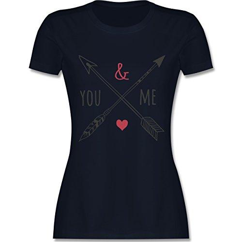 Valentinstag - You & Me Pfeile - tailliertes Premium T-Shirt mit Rundhalsausschnitt für Damen Navy Blau