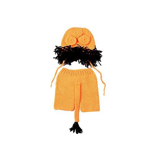 Adore store Handgefertigte Baby-Hut-Windel-Outfit Crochet Strick Lion Hat Schwanz Sets Fotografie Prop Gelb 1Set