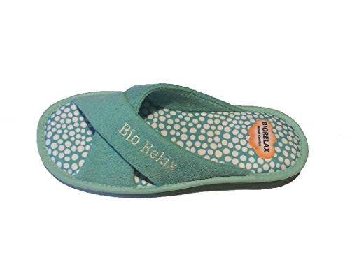 Zapatillas de Estar por casa/De Mujer/Biorelax/Verano/Mod. Rizo Tiras Cruzadas/Color Aguamar/con Cámara...