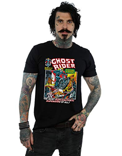 Marvel Herren Ghost Rider T-Shirt Schwarz Medium