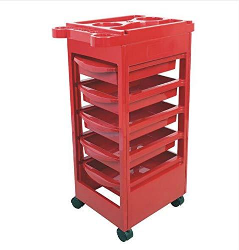 Stühle & Sofas Fünf Etagen Höhenverstellbarer Friseursalon Aufbewahrungswagen Beauty Trolley (Schwarz) (Farbe : Red)