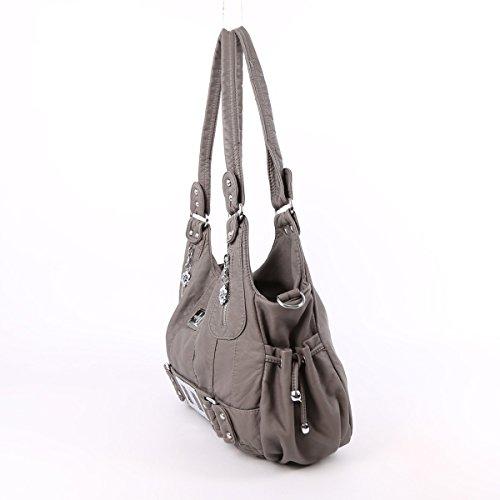Angelkiss 2 Top Cerniere di chiusura tasche multiple Borse Lavato borse in pelle a tracolla borse XS161259 Grigio