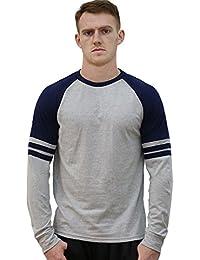 Allegra K Rayures Couleur Hommes Col Rond Manches Longues Raglan Université T-Shirt