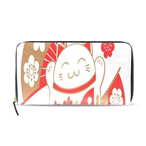 Wietops Japan glückliche katze glückliche kitty lange pass kupplung geldbörsen reißverschluss brieftasche fall handtasche geld veranstalter tasche kreditkarteninhaber frauen mädchen männer -
