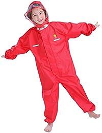 Bwiv traje impermeable con capucha unisex ropa de lluvia de una pieza con líneas reflectantes para niño y niña