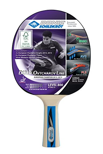 Donic-Schildkröt Tischtennisschläger Ovtcharov 800 FSC, AVS, PLS & Ergo-Griff, 2,0 mm Schwamm, FSC Holz, Champion - ITTF Belag, 754414