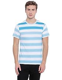 EDBERRY Striped Men's Round Neck Light Blue White Cotton/Poly T-Shirt