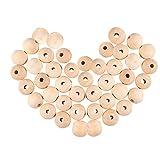 PandaHall Elite 200pcs Perline di Legno tonde con imballaggio sottovuoto Perline distanziali per Fabbricazione di Gioielli, Mocassino, 15~16x14~15mm, Foro: 3mm