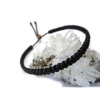 Bracelet brésilien/amitié/unisexe/surf/en fil tissage plat et fin noir tissé main en macramé avec du fil ciré Réf.PPpreto