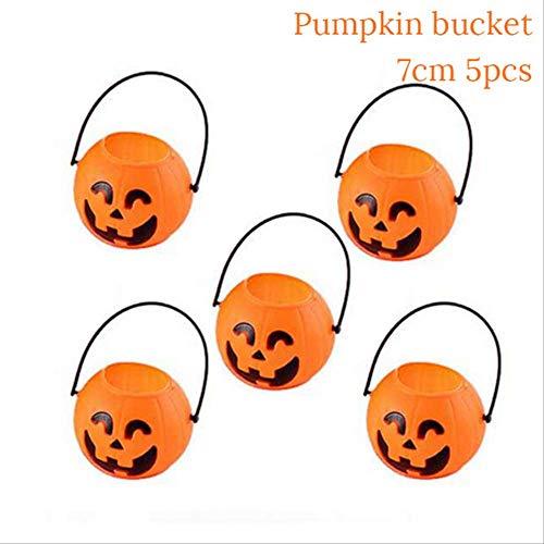WSCOLL 5/10 stücke Kunststoff orange kürbis Eimer Mini süßigkeiten süße Halter für Kleinkind Kind Halloween parieren Trick behandeln süßigkeiten Beutel Eimer 5 stücke kürbis - Monster High Kostüm Kleinkind