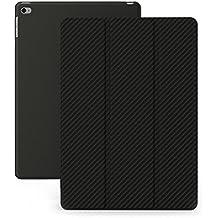 KHOMO Funda iPad Air 2 - Carcasa Fibra de Carbono Ultra Delgada y Ligéra con Smart Cover para Apple iPad Air 2 - Carbon Fiber