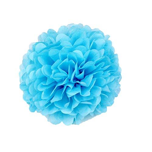 Super44day 15 pezzi 14in / 12In , di carta velina, decorazione floreale, fiori, palline, Pompon in panno carta per feste, matrimoni, decorazioni, fiori, motivo: Pom Pom blu