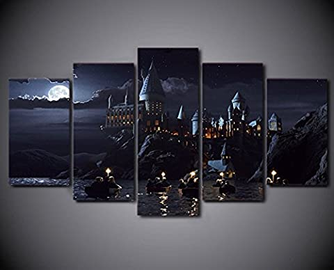 5 Pcs Framed Harry Potter Hogwarts School Canvas Prints For Home & Office Decor Canvas Print Framed Picture For Living/Office Room (Large (40x60cmx2,40x80cmx2,40x100cmx1))