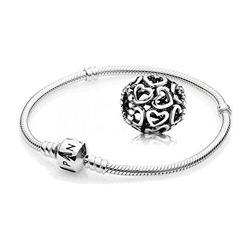 Original-PANDORA-Starterset-Geschenkset-925er-Sterling-Silber-1-Silber-Armband-Gre-19-cm-ArtNr-590702HV-19-und-1-Filigranes-Moment-ffne-dein-Herz-ArtNr-790964