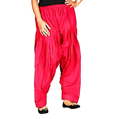 KRISHNA FASHION Women's Cotton Traditional Patiala Salwar (Black, Red and White, Free Size) Pack of 3