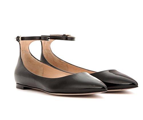 EDEFS - Ballerines Femme - Chaussures Plat - Classiques Pour Femmes - Bride Cheville Noir