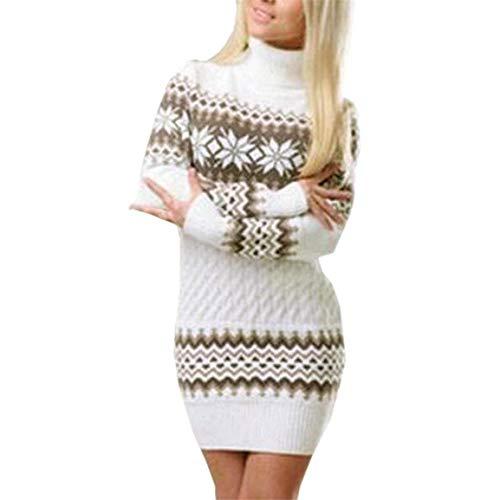 Damen Weihnachten Kleid Damen Langarm Strickkleid über dem Knie, Mini Schneeflocke gedruckt Rollkragenpullover Kleid Moonuy
