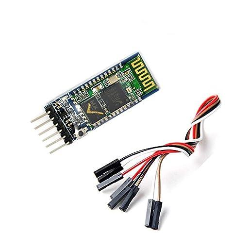 Aukru HC-05 Wireless-Bluetooth-Host Serial-Transceiver-Modul Slave und Master RS232 mit 6 set kabel für Arduino