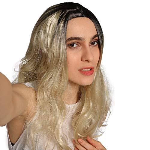 MMOOVV Gewellte lockige synthetische Perücke der sexy blonden Perücke des Mädchens