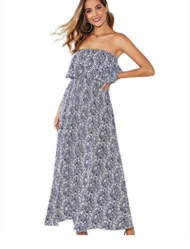 Yidarton Damen Sommer Kleider Blau und Weiß Porzellan Trägerlos Boho Maxi Lang Kleid Ärmelloses CocktailKleid Strandkleid(Blau, XL)
